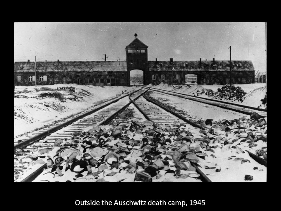 Outside the Auschwitz death camp, 1945