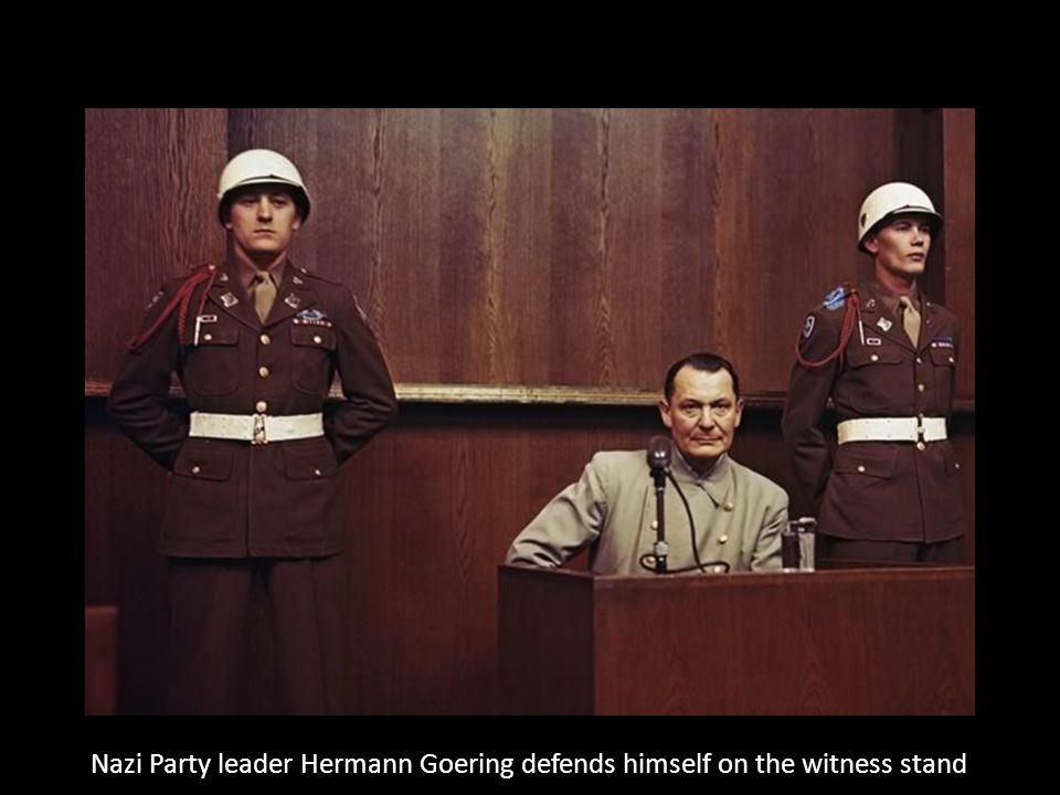 Nazi Party leader Hermann Goering defends himself on the witness stand