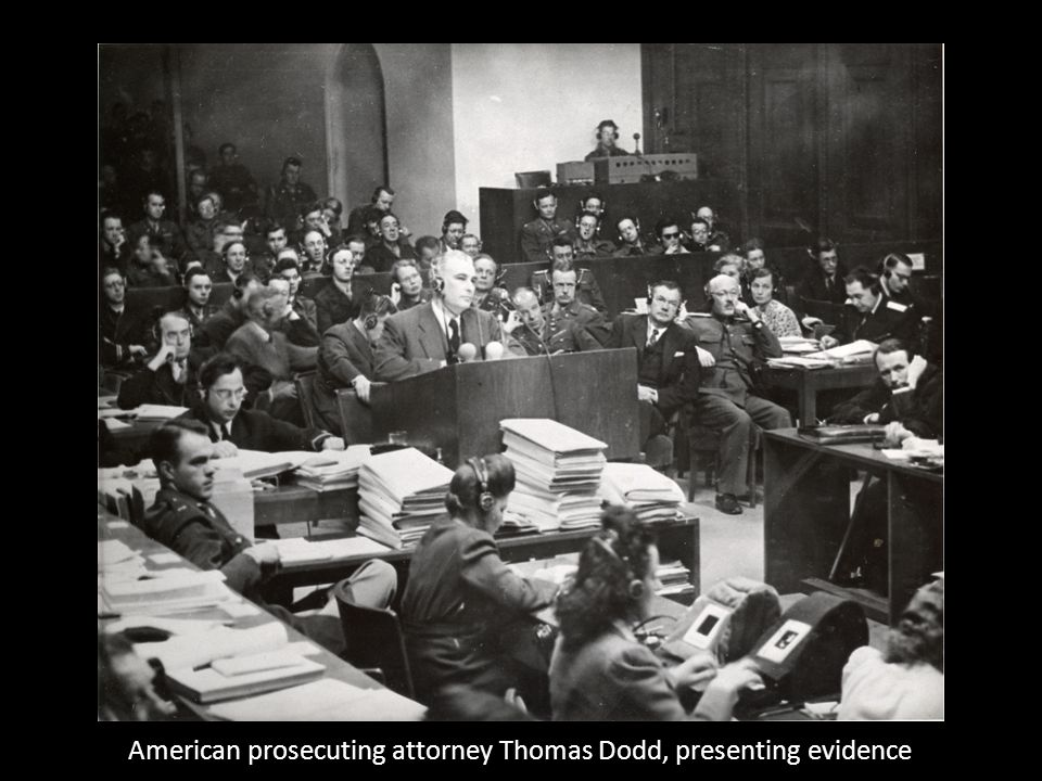 American prosecuting attorney Thomas Dodd, presenting evidence