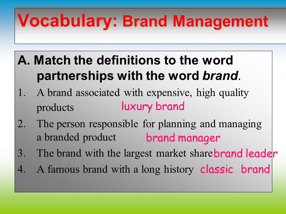 Vocabulary: Brand Management