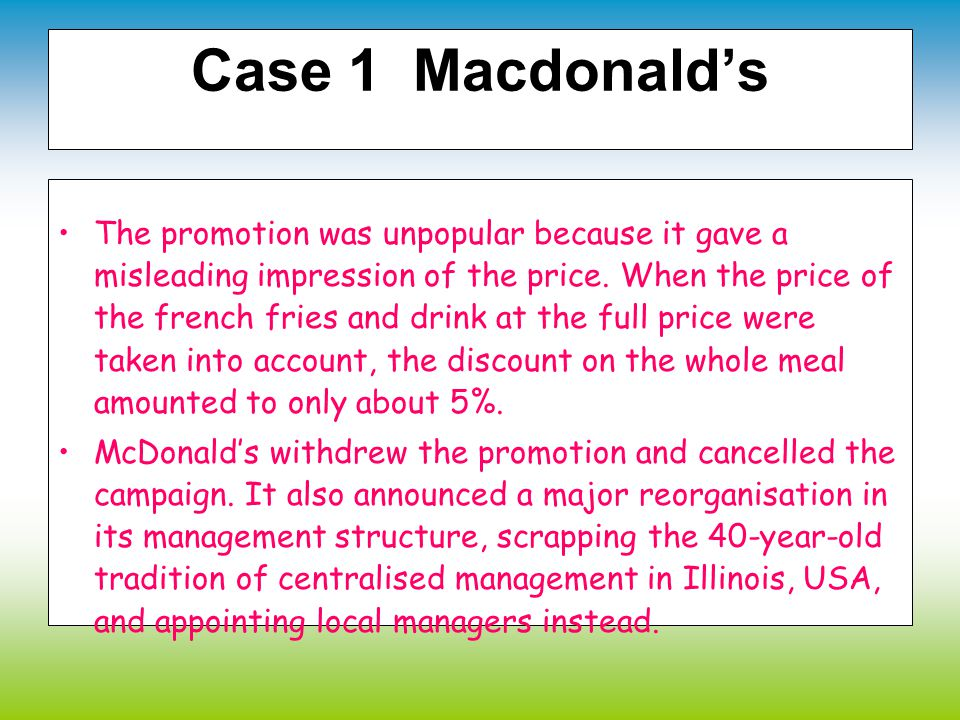 Case 1 Macdonald's