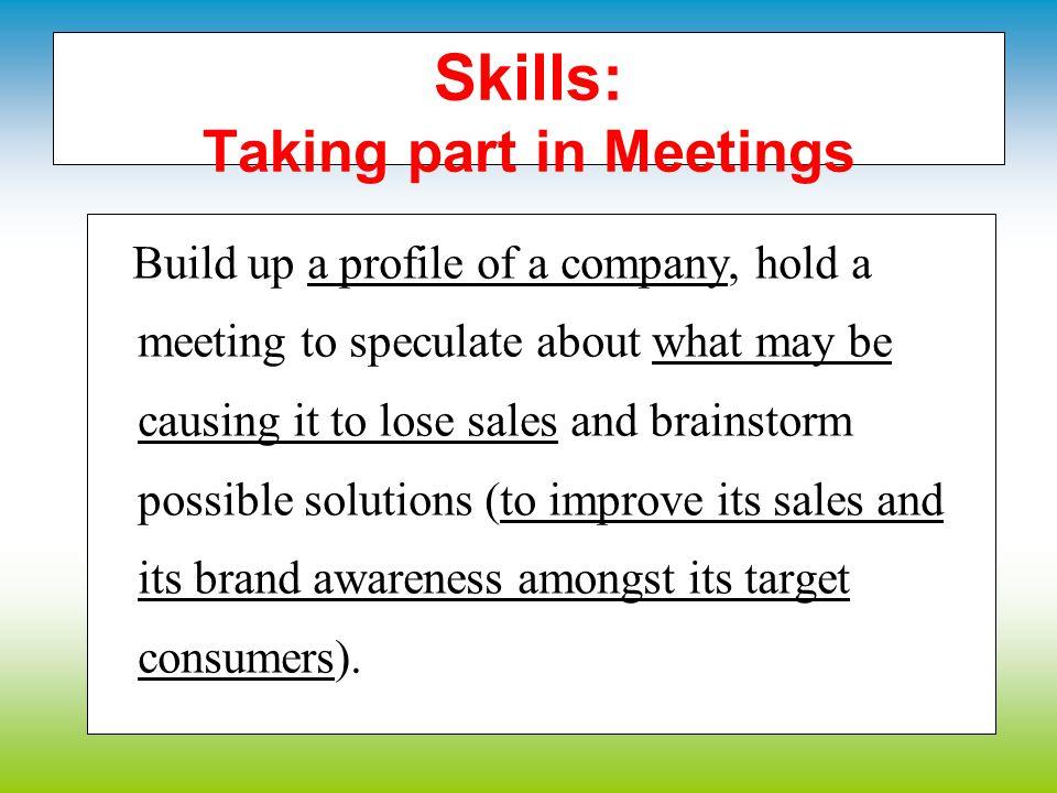 Skills: Taking part in Meetings