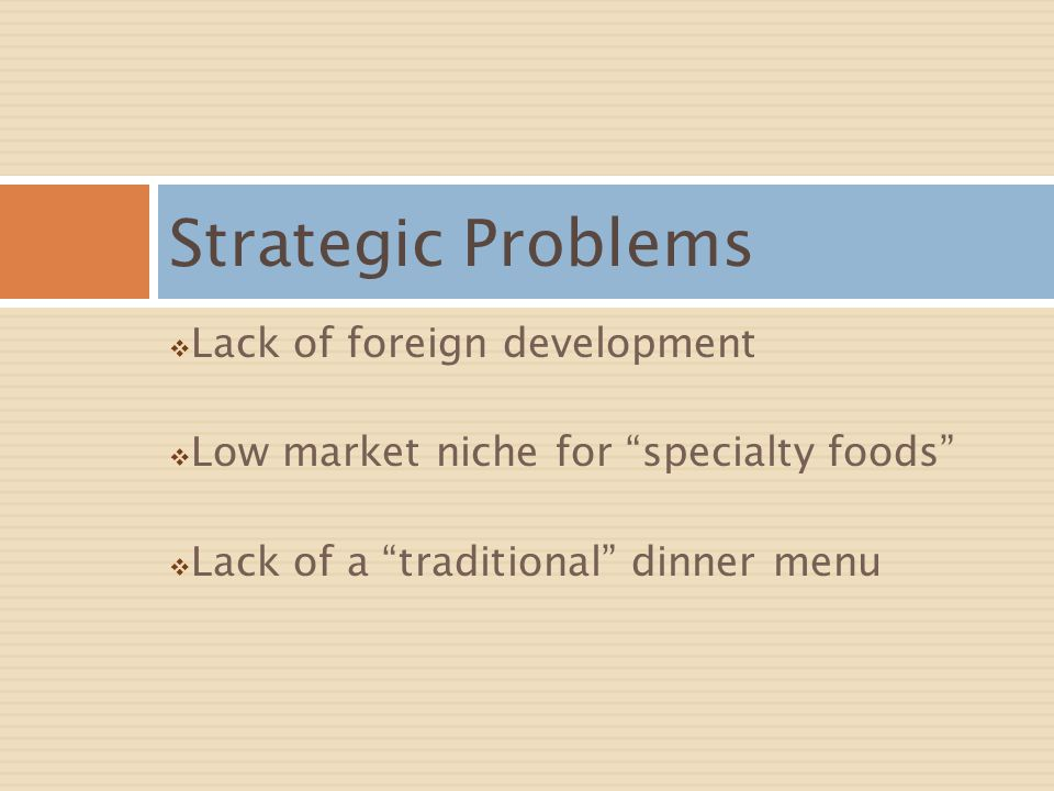 Strategic Problems Lack of foreign development