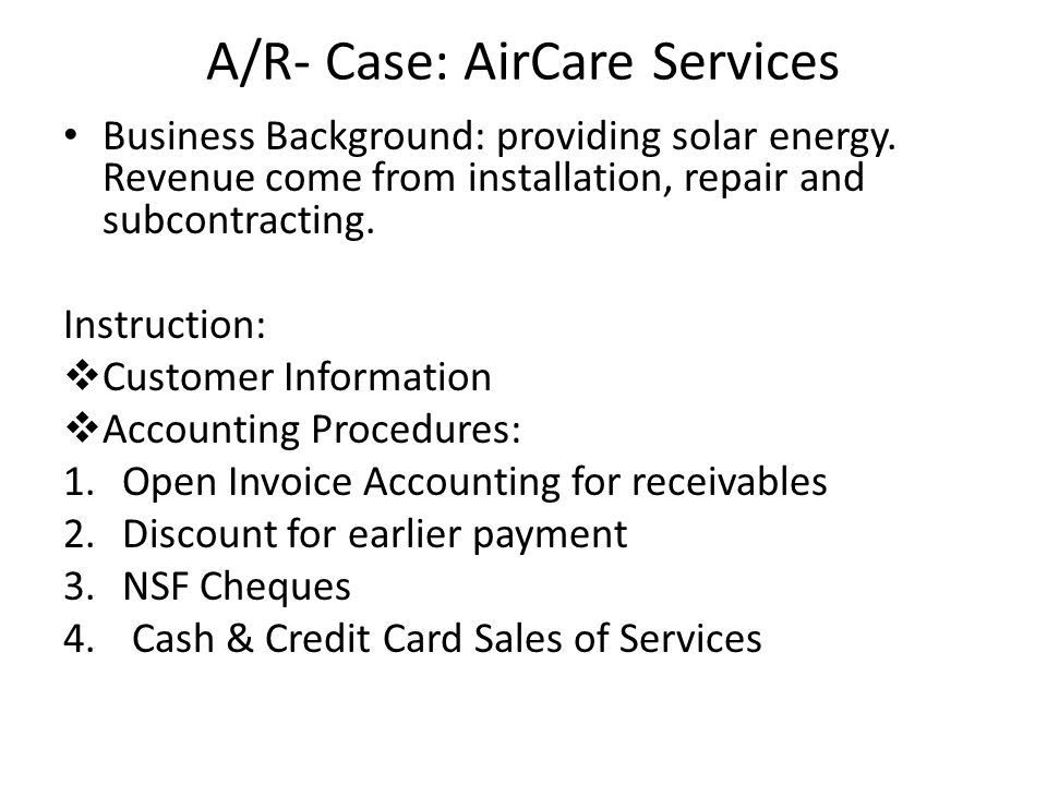 A/R- Case: AirCare Services