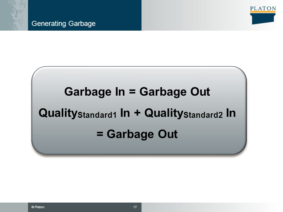 Garbage In = Garbage Out QualityStandard1 In + QualityStandard2 In