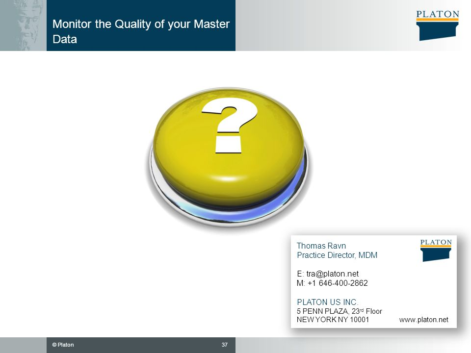 Monitor the Quality of your Master Data