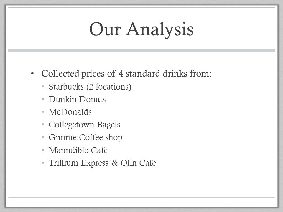 Our Analysis Collected prices of 4 standard drinks from: