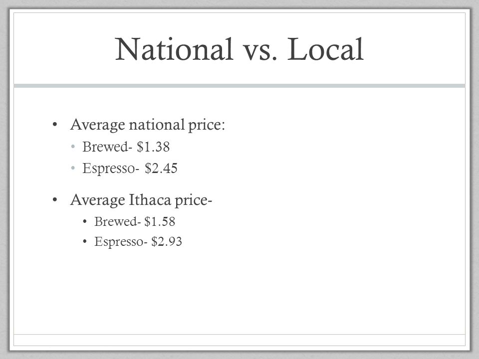 National vs. Local Average national price: Average Ithaca price-