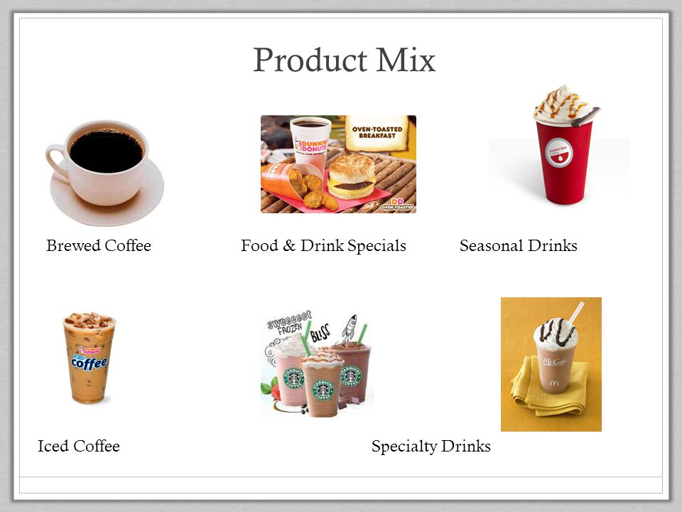 Product Mix Brewed Coffee Food & Drink Specials Seasonal Drinks