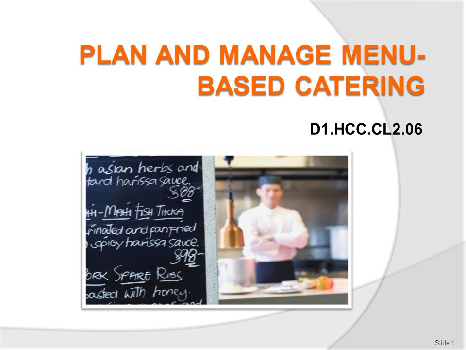 PLAN AND MANAGE MENU-BASED CATERING