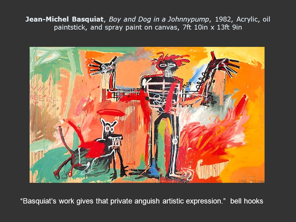 Jean-Michel Basquiat, Boy and Dog in a Johnnypump, 1982, Acrylic, oil paintstick, and spray paint on canvas, 7ft 10in x 13ft 9in