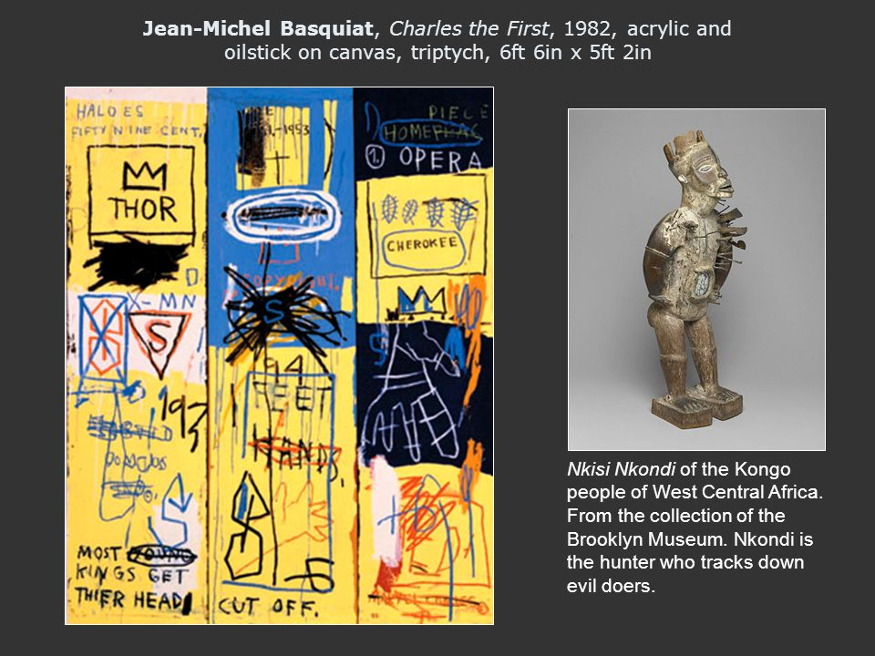 Jean-Michel Basquiat, Charles the First, 1982, acrylic and oilstick on canvas, triptych, 6ft 6in x 5ft 2in