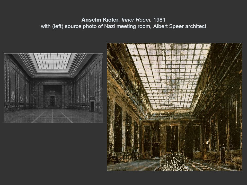 Anselm Kiefer, Inner Room, 1981 with (left) source photo of Nazi meeting room, Albert Speer architect