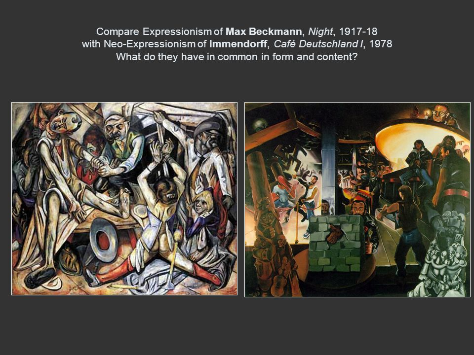 Compare Expressionism of Max Beckmann, Night, with Neo-Expressionism of Immendorff, Café Deutschland I, 1978 What do they have in common in form and content