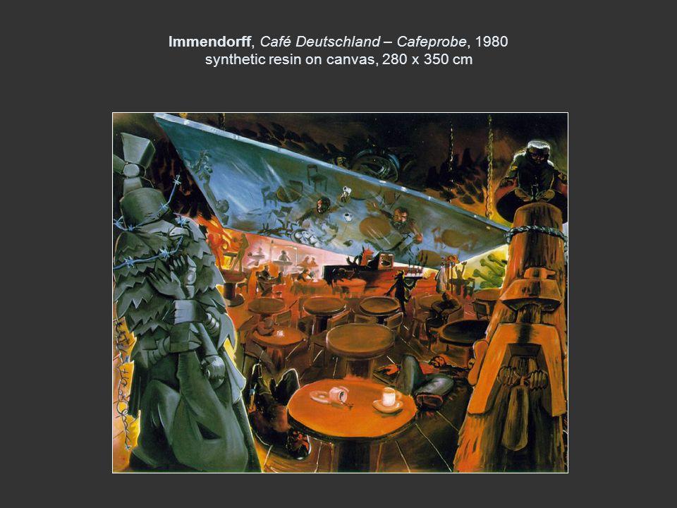 Immendorff, Café Deutschland – Cafeprobe, 1980 synthetic resin on canvas, 280 x 350 cm