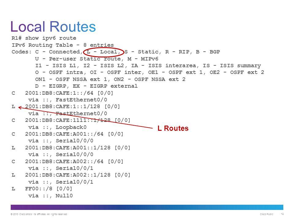 Local Routes L Routes R1# show ipv6 route
