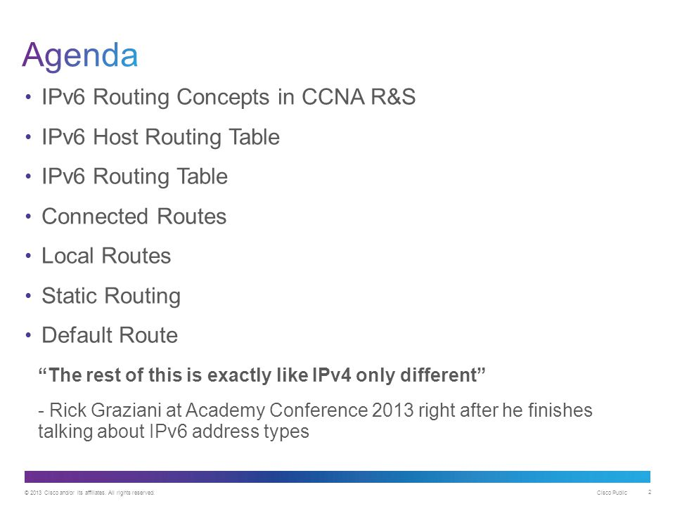 Agenda IPv6 Routing Concepts in CCNA R&S IPv6 Host Routing Table