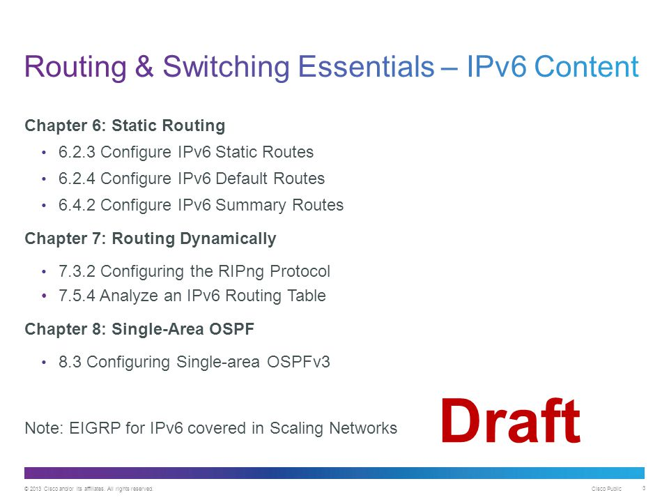 Draft Routing & Switching Essentials – IPv6 Content