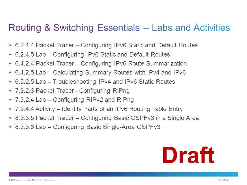 Routing & Switching Essentials – Labs and Activities