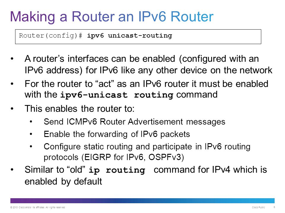 Making a Router an IPv6 Router