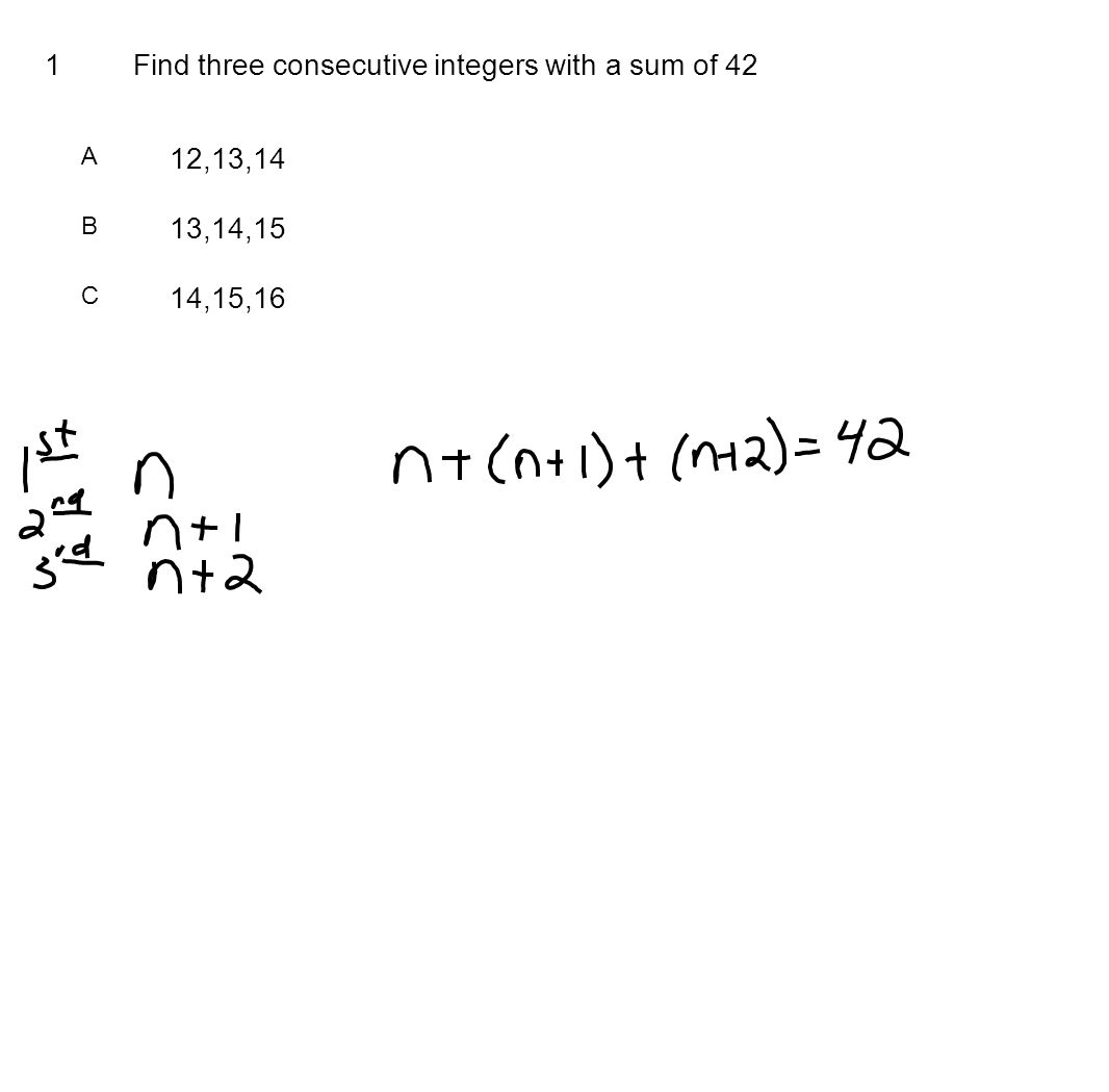 Find three consecutive integers with a sum of 42
