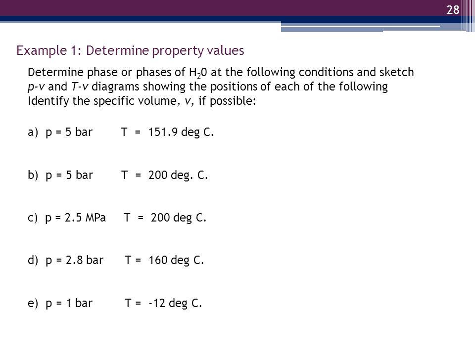 Example 1: Determine property values