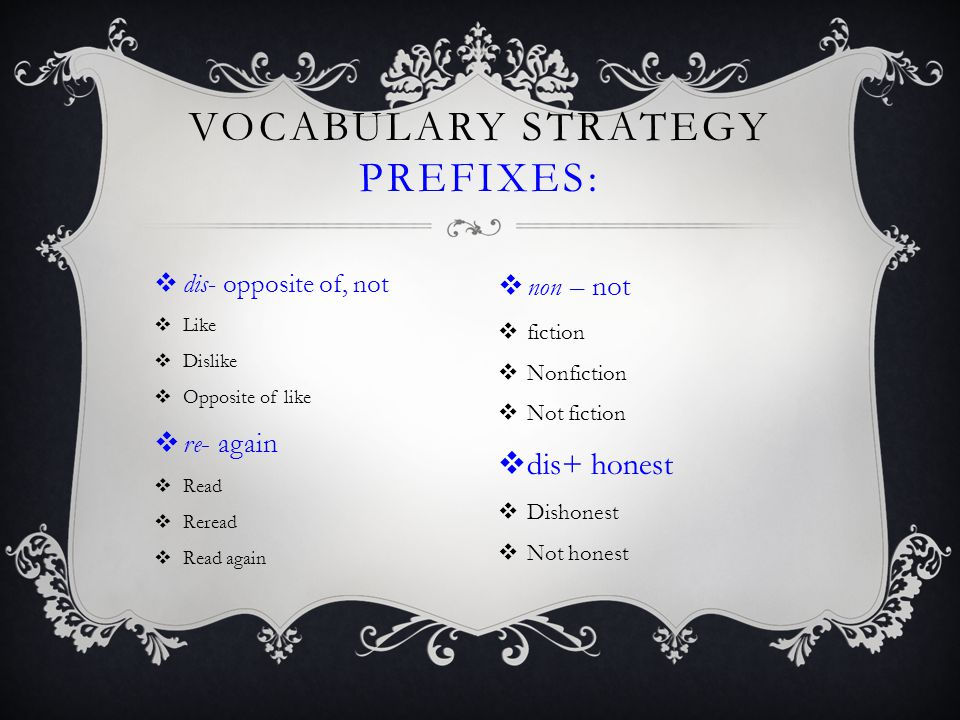 Vocabulary Strategy Prefixes: