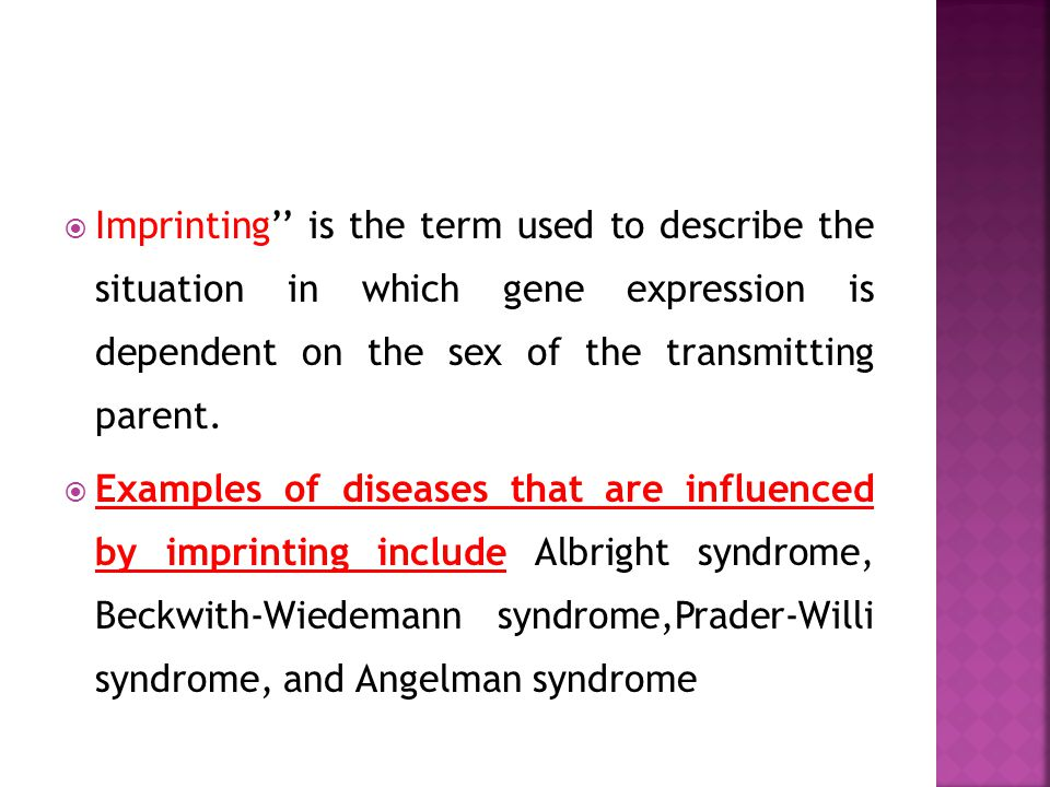 Imprinting'' is the term used to describe the situation in which gene expression is dependent on the sex of the transmitting parent.