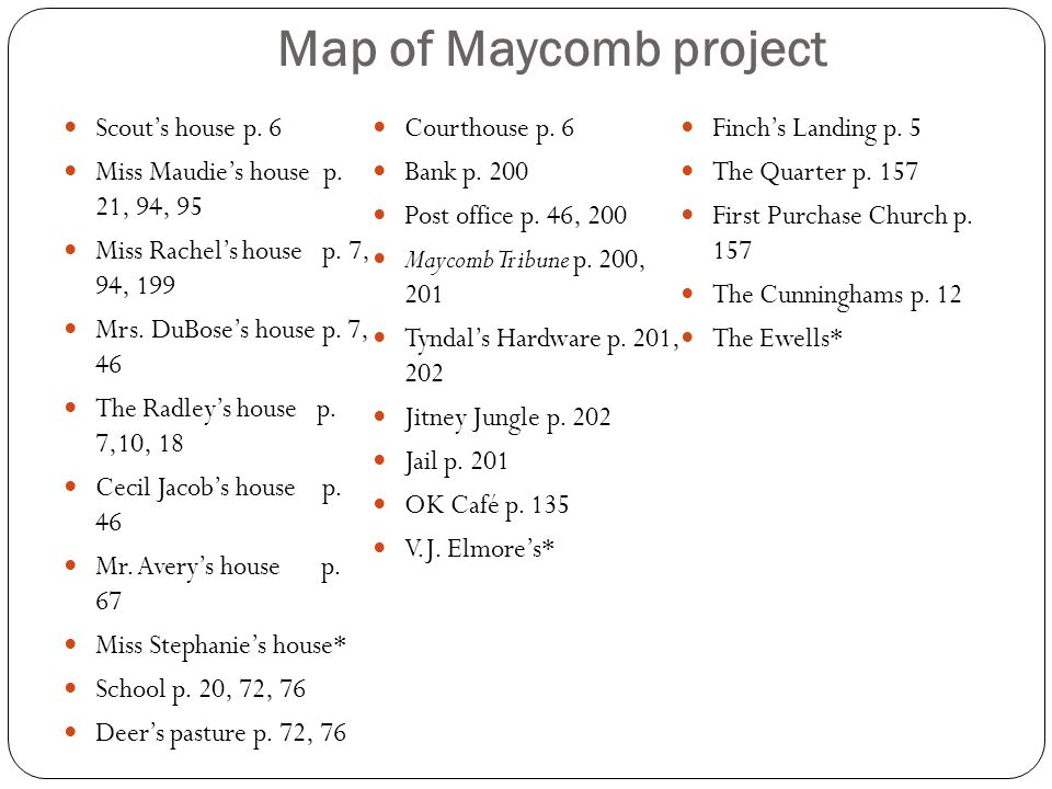 Map of Maycomb project Scout's house p. 6 Courthouse p. 6