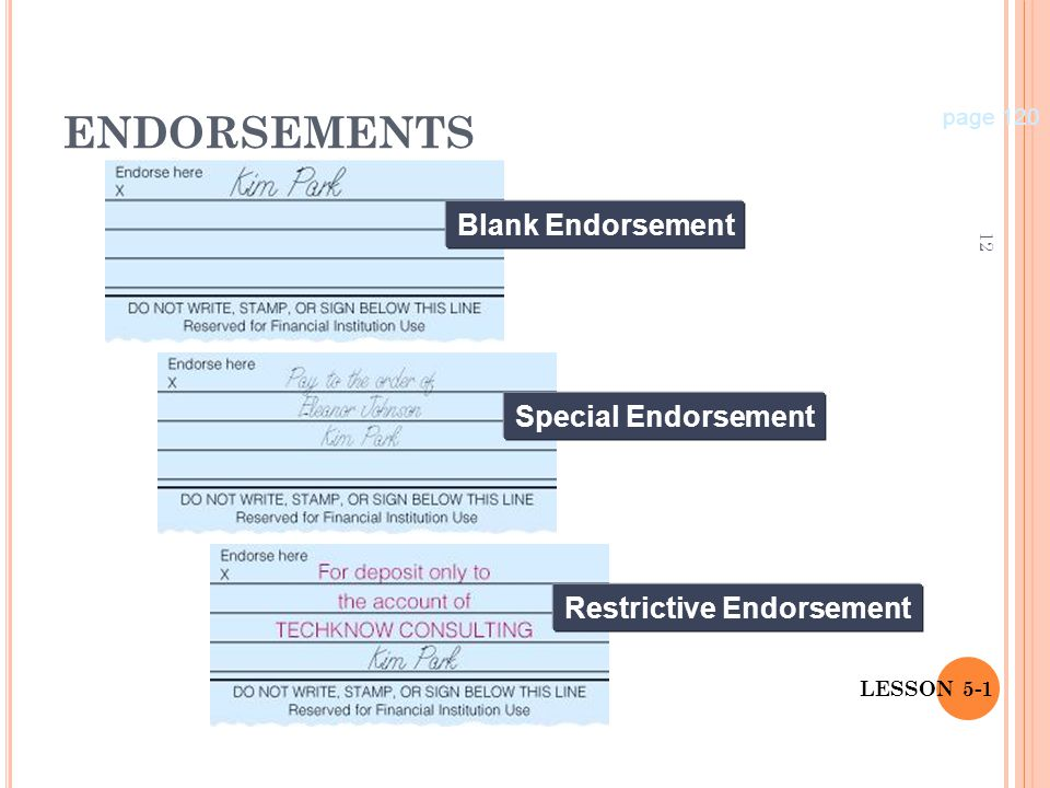 ENDORSEMENTS Blank Endorsement Special Endorsement