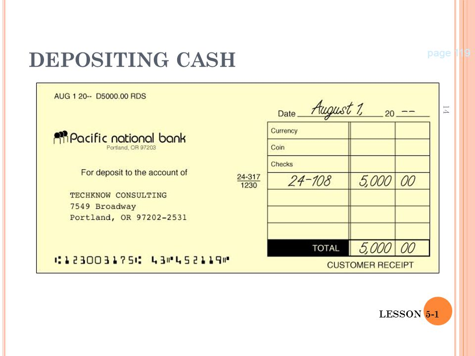 DEPOSITING CASH page 119 LESSON 5-1