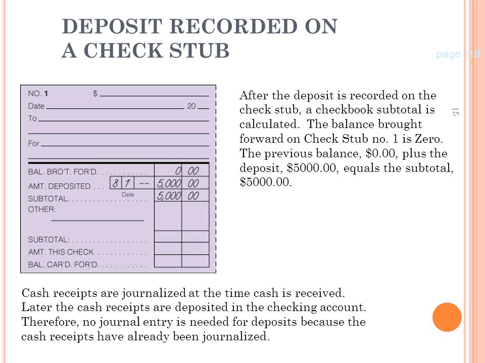 DEPOSIT RECORDED ON A CHECK STUB