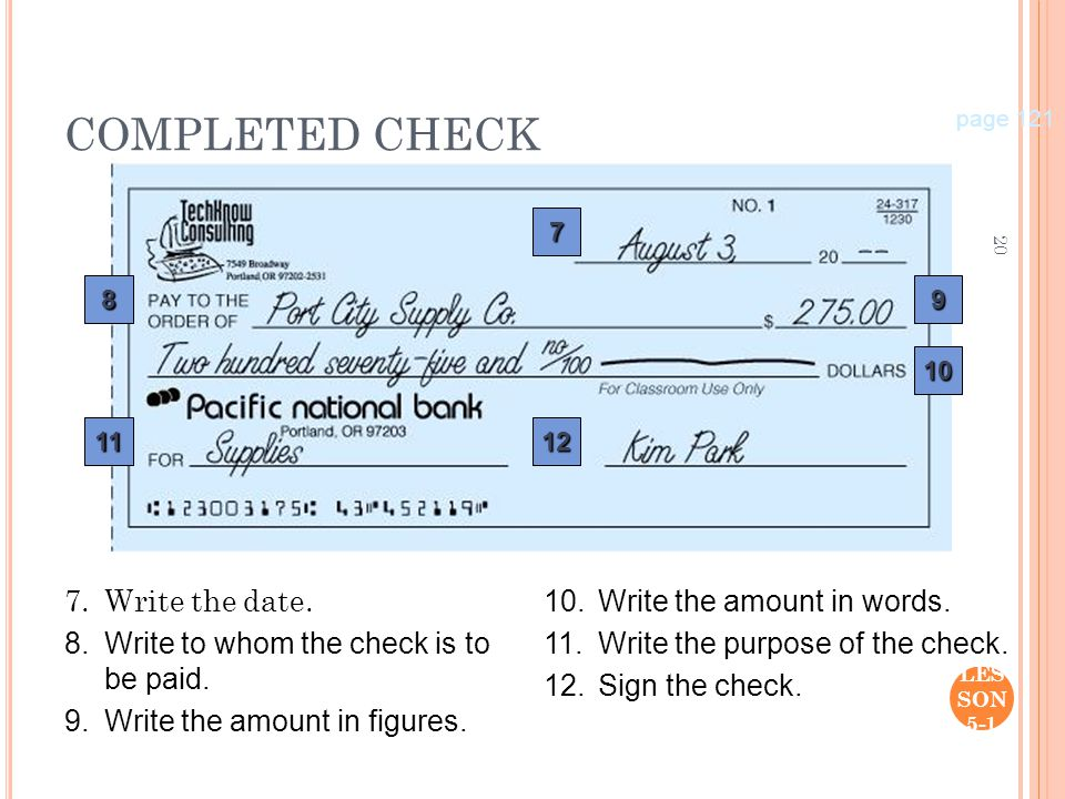 Sample Annotated Check