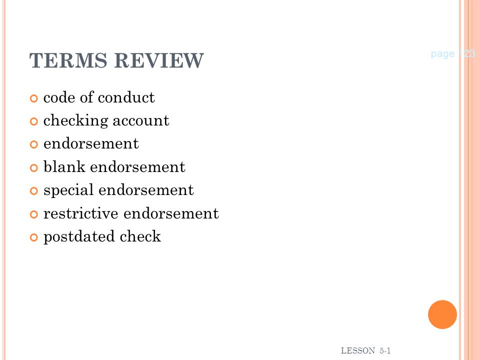 TERMS REVIEW code of conduct checking account endorsement