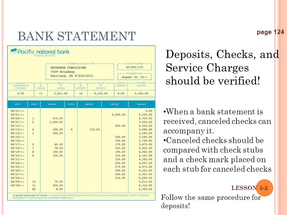 BANK STATEMENT page 124. Deposits, Checks, and Service Charges should be verified!