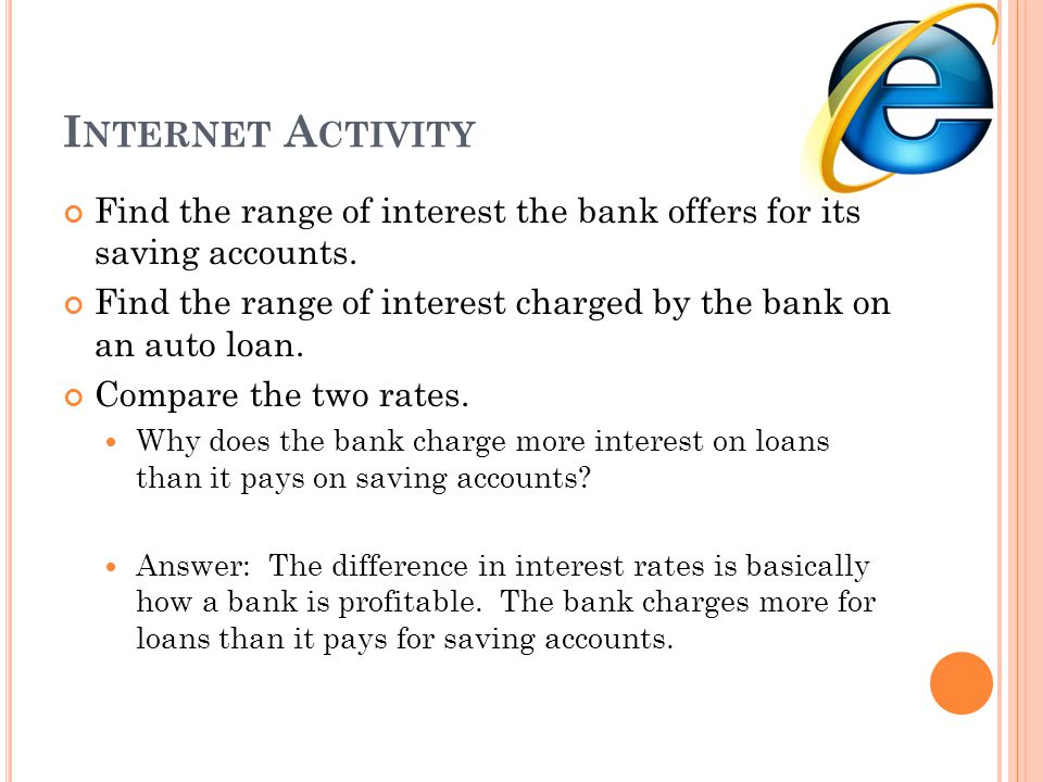 Internet Activity Find the range of interest the bank offers for its saving accounts.