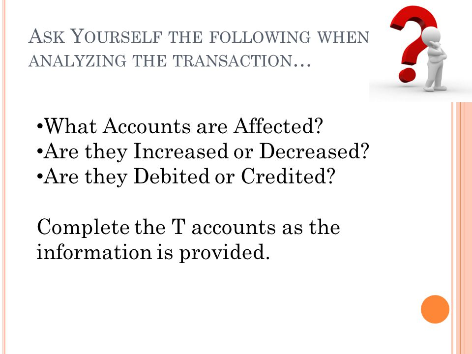 Ask Yourself the following when analyzing the transaction…