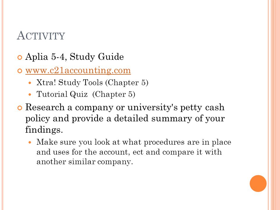 Activity Aplia 5-4, Study Guide www.c21accounting.com