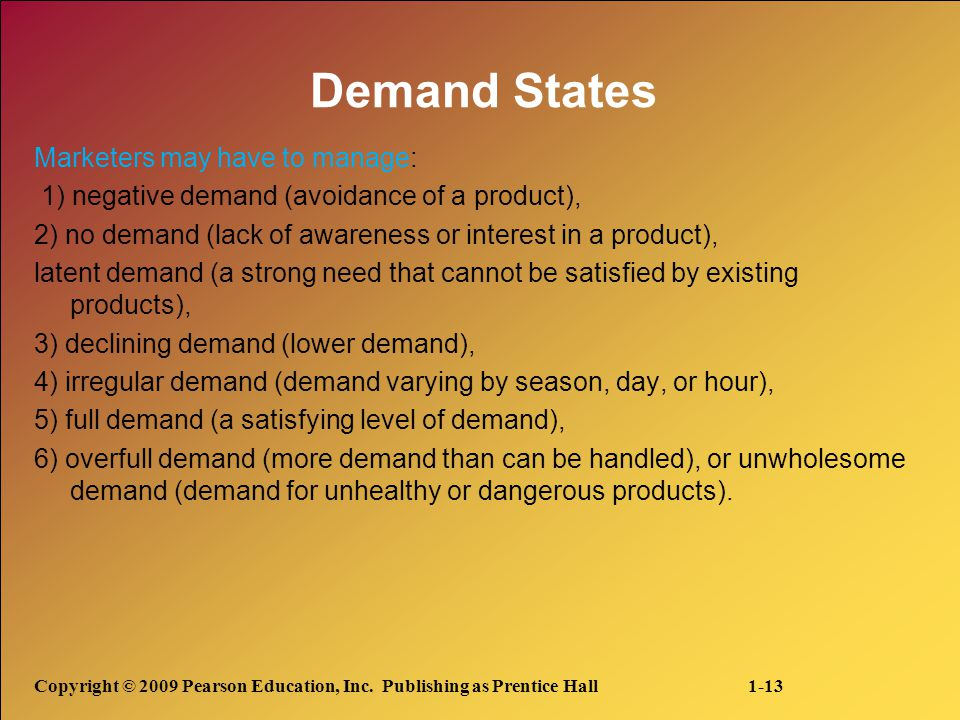 Demand States Marketers may have to manage: