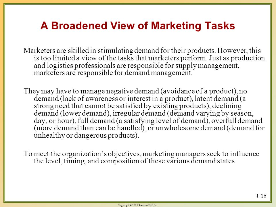 A Broadened View of Marketing Tasks
