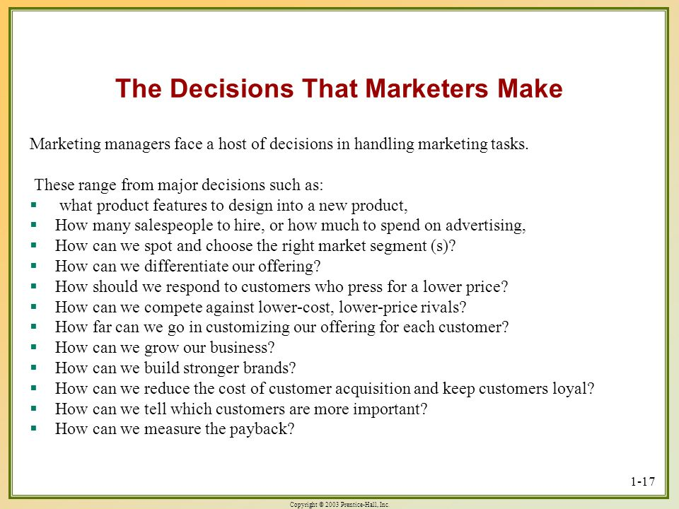 The Decisions That Marketers Make