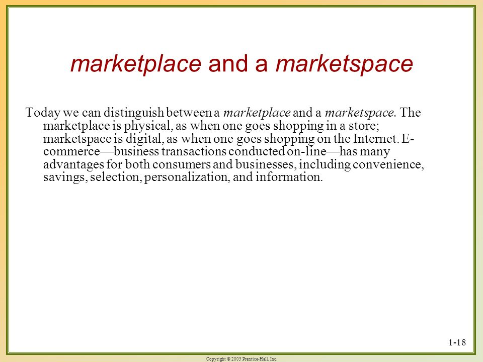 marketplace and a marketspace