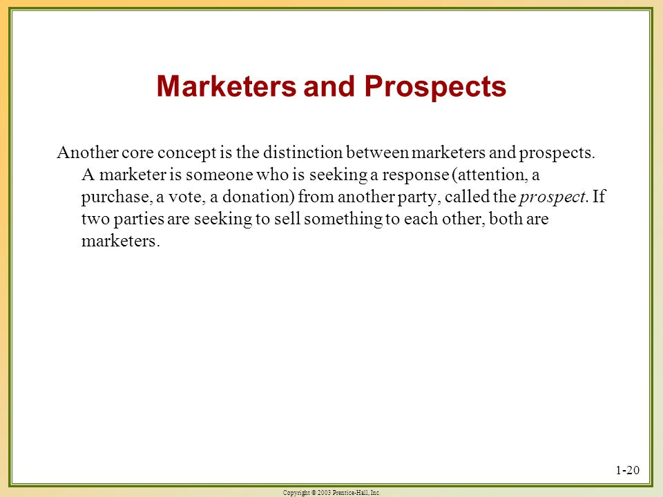 Marketers and Prospects