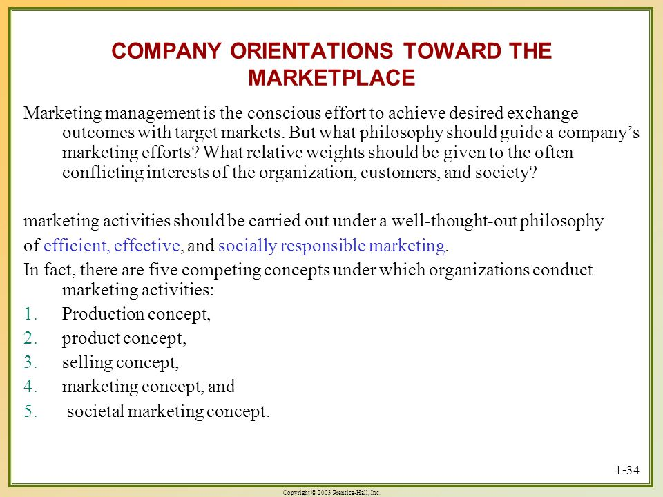COMPANY ORIENTATIONS TOWARD THE MARKETPLACE
