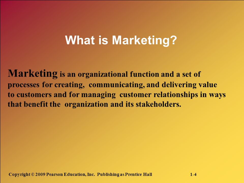What is Marketing Marketing is an organizational function and a set of. processes for creating, communicating, and delivering value.