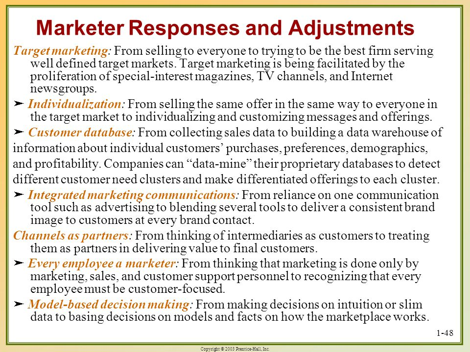 Marketer Responses and Adjustments