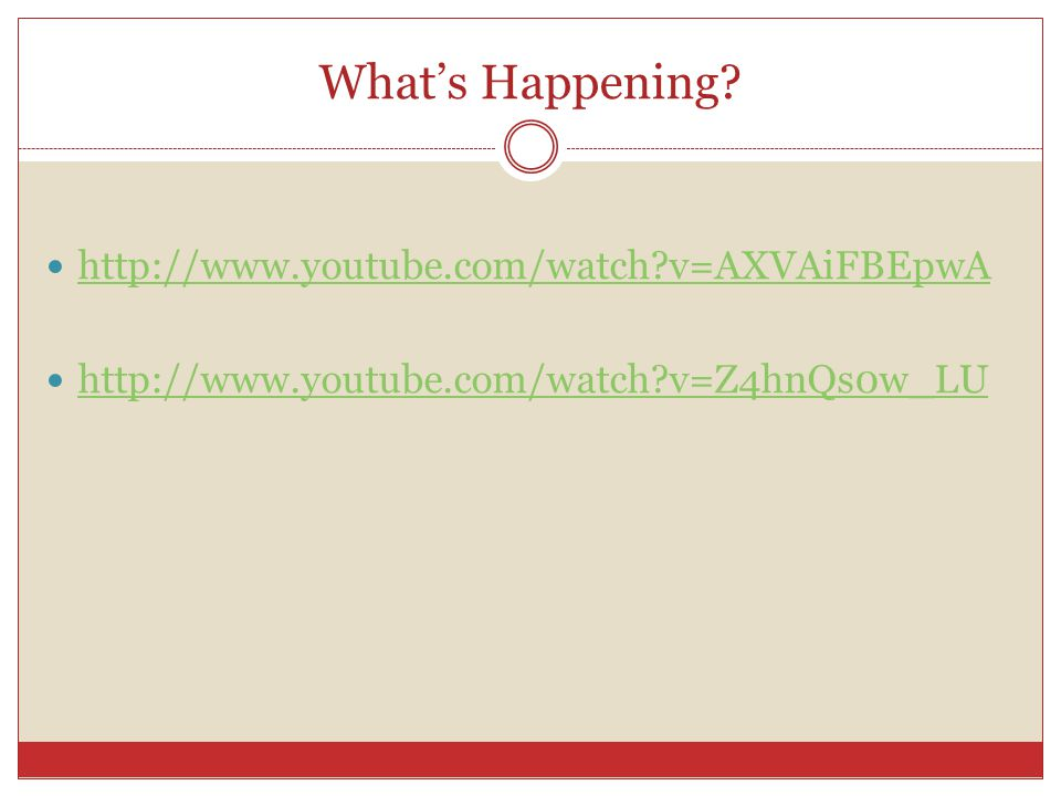 What's Happening http://www.youtube.com/watch v=AXVAiFBEpwA