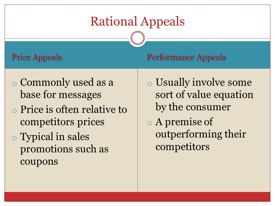 Rational Appeals Commonly used as a base for messages