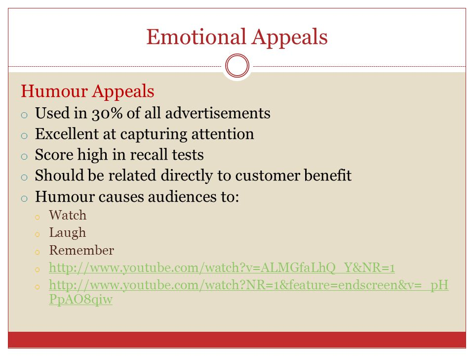 Emotional Appeals Humour Appeals Used in 30% of all advertisements