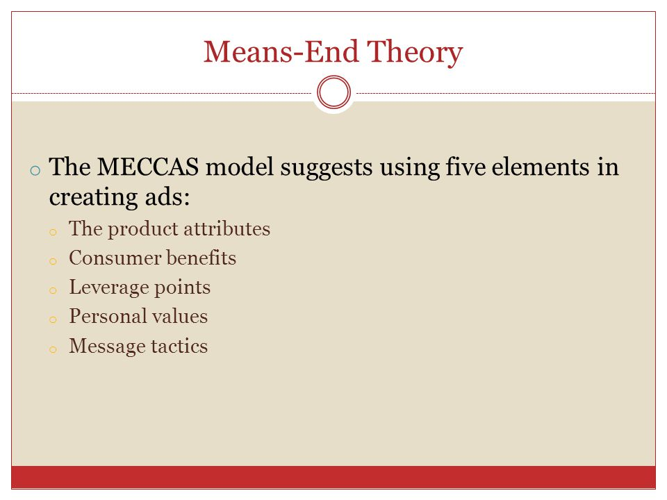 Means-End Theory The MECCAS model suggests using five elements in creating ads: The product attributes.